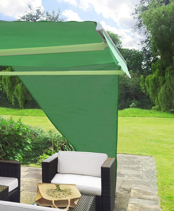 toile d 39 ombrage verte triangulaire angle droit pour store de terrasse 34 99. Black Bedroom Furniture Sets. Home Design Ideas