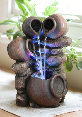 fontaine d 39 int rieur 4 pots avec eclairage led zen et. Black Bedroom Furniture Sets. Home Design Ideas