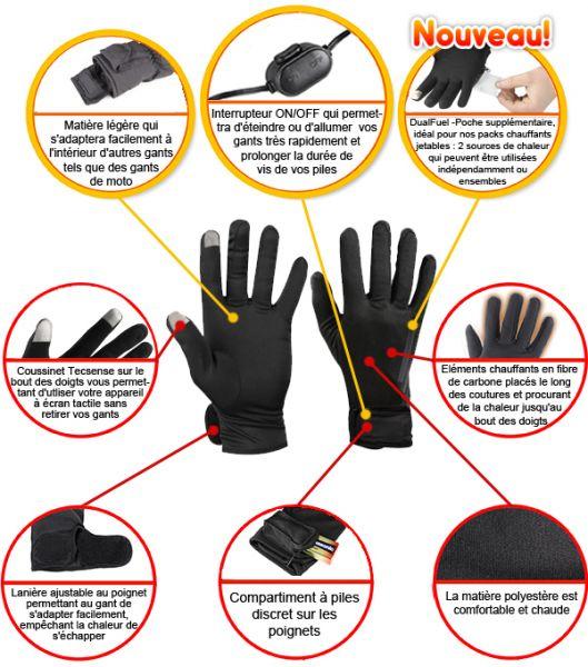 c61b57ea11742 Nos sous-gants comprennent un système thermique avancé alimenté par piles,  qui diffuse une agréable chaleur du dos de vos mains jusqu'au bout de vos  doigts.