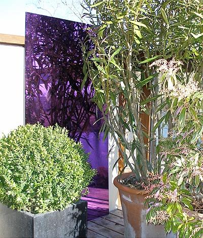 miroir de jardin en acrylique lot de 2 petites carr s violet 61cm x 61cm 109 99. Black Bedroom Furniture Sets. Home Design Ideas