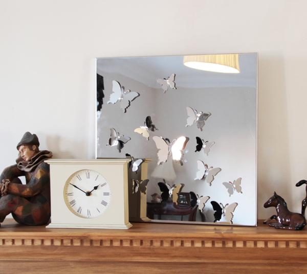 Miroir avec papillons en acier inoxydable 55cm 99 99 for Desire miroir miroir