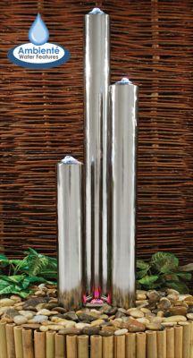 Fontaine de Jardin à 3 Tubes Brossés Acier Inox avec LED - (1.56m ...