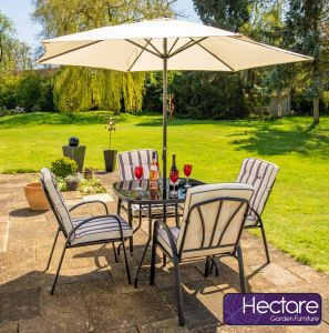 Hadleigh 4 Seater Square Garden Dining Furniture Set In Black By Hectare™