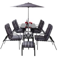 Set Mobilier Salon Gris Pour Jardin, 6 Places Inclinables Hadleigh - Par Hectare™