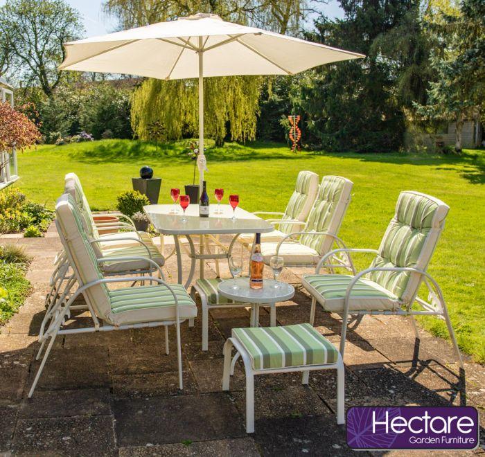 Salon de Jardin Hadleigh Crème avec 6 Chaises et Fauteuils Inclinables -  Par Hectare™