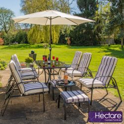 Ensemble Salon Noir  Pour Jardin, 6 Places Inclinables Hadleigh - Par Hectare™