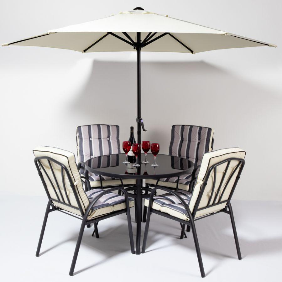 Set mobilier de salon de jardin rond 4 places Hadleigh en noir par Hectare™