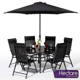 Set de salon rond en polytex 6 places inclinables Kennet en noir par Hectare™