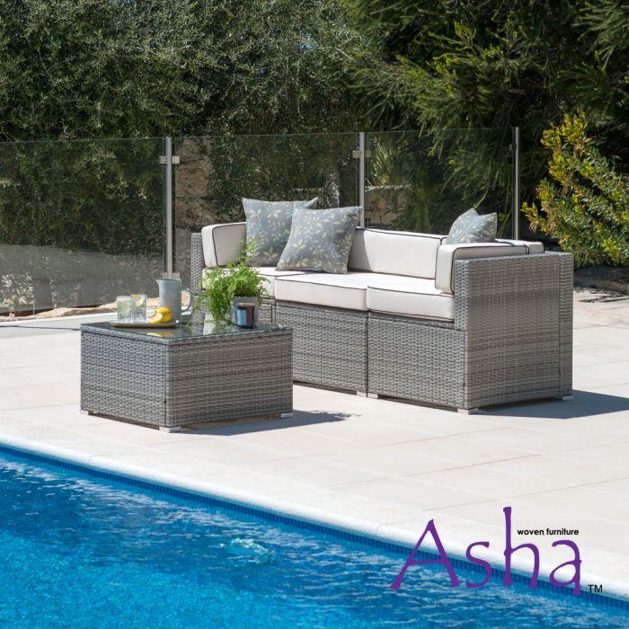 Salon de jardin en rotin Sherborne, 4 pièces, gris mélangé - de Asha ™