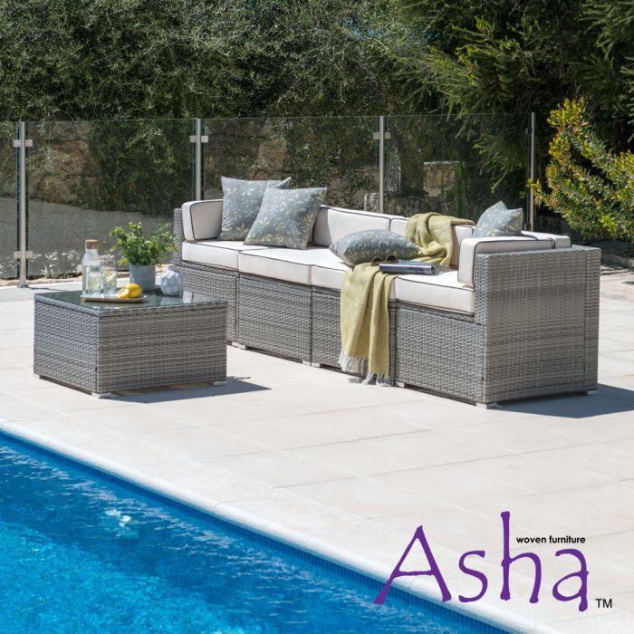 Salon de jardin en rotin Sherborne, 5 pièces, gris mélangé - de Asha ™