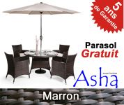 Salon de Jardin 4 Places Résine Tressée Marlborough  Marron- Asha™