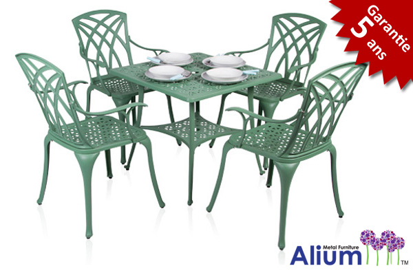 salon de jardin 4 personnes alium washington en fonte d 39 aluminium vert for t 449 99. Black Bedroom Furniture Sets. Home Design Ideas