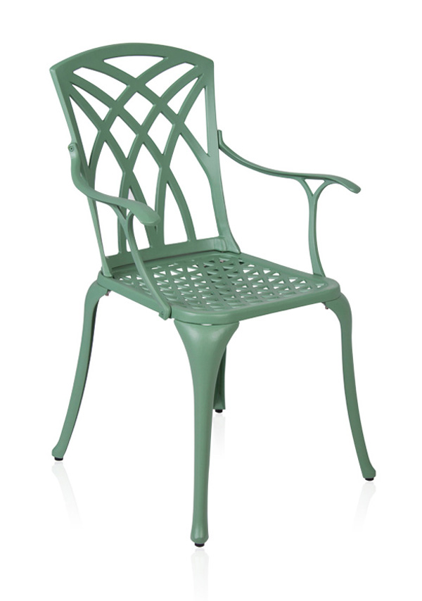 salon de de jardin 6 places alium washington en fonte d 39 aluminium vert for t 799 99. Black Bedroom Furniture Sets. Home Design Ideas