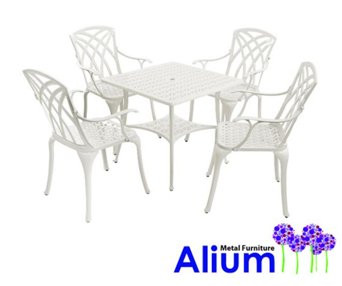Salon de Jardin 4 Personnes Alium Washington en Fonte d\'Aluminium - Blanc