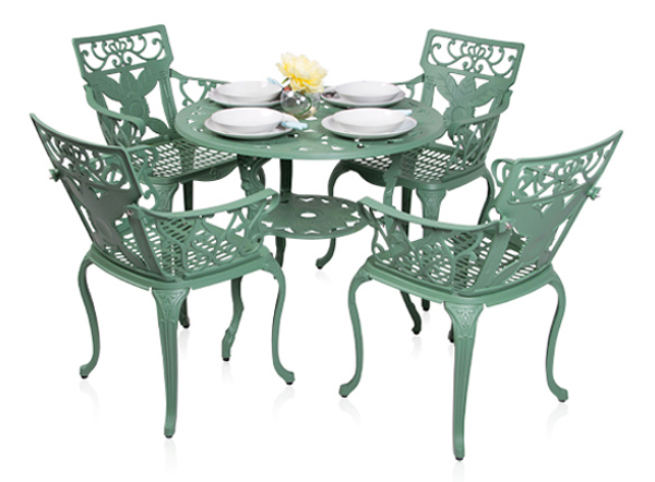 Ensemble meubles de jardin versailles blanc en fonte d 39 aluminium table ronde et 4 chaises 449 99 - Ensemble table ronde 4 chaises ...