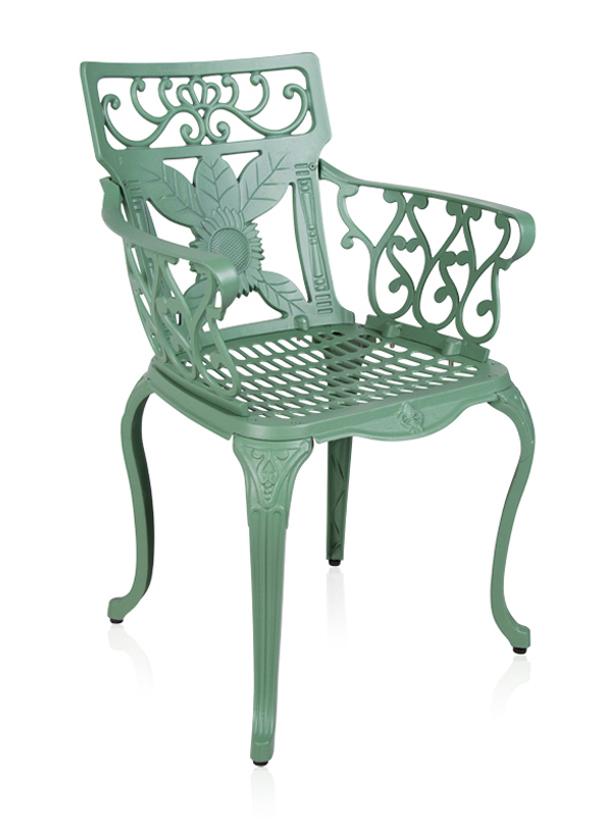 Ensemble meubles de jardin versailles blanc en fonte d for Ensemble table ronde et 4 chaises