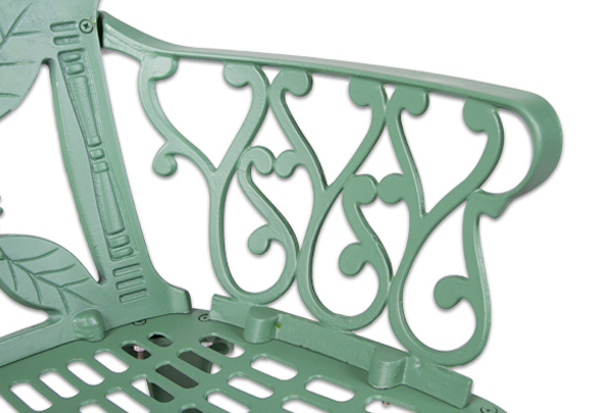 salon de de jardin 4 places alium lincoln en fonte d 39 aluminium vert for t 679 99. Black Bedroom Furniture Sets. Home Design Ideas