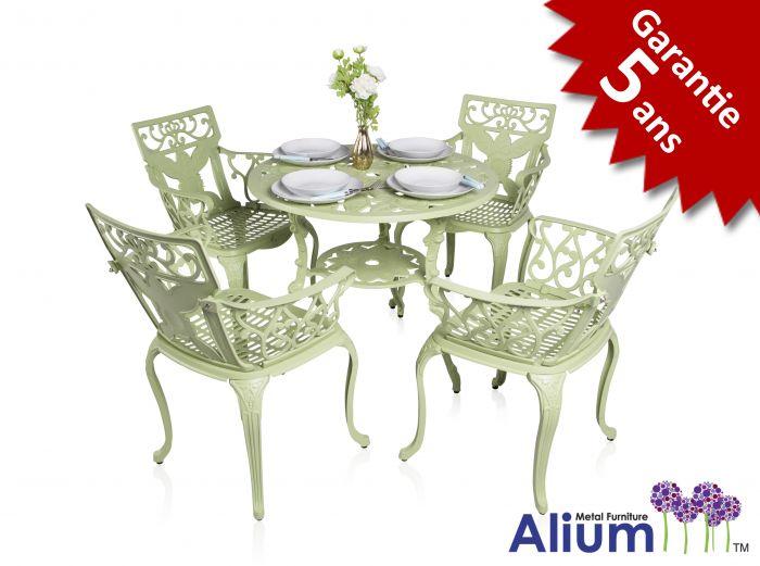 Ensemble Meubles de Jardin Versailles Blanc en Fonte d\'Aluminium Table  Ronde et 4 Chaises