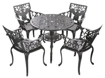 Ensemble meubles de jardin versailles noir en fonte d 39 aluminium table ronde et 4 chaises 449 99 - Salon de jardin fonte aluminium ...