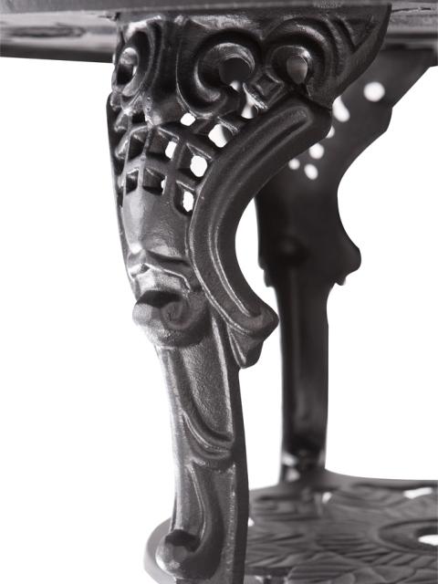 Ensemble Meubles de Jardin Versailles Noir en Fonte d\'Aluminium Table Ronde  et 4 Chaises