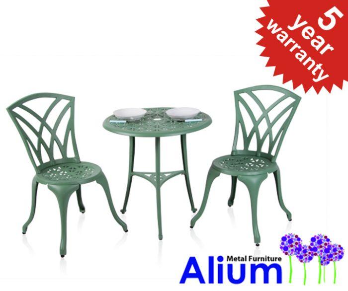 Salon de Jardin 2 Personnes Alium™ Harrison en Fonte d\'Aluminium - Vert  Forêt