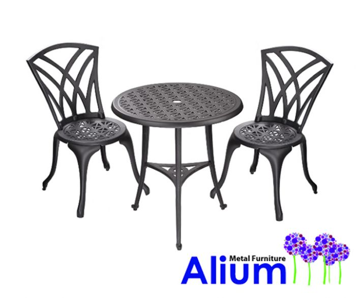 Salon de Jardin 2 Personnes Alium™ Harrison en Fonte d\'Aluminium - Noir