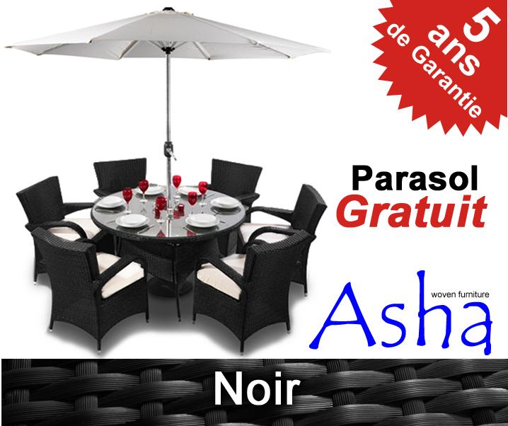 Salon de jardin 6 places noir en r sine tress e winslow for Salon de jardin avec parasol