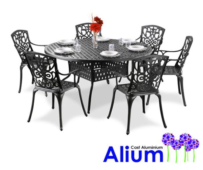 Salon de Jardin 6 Personnes Alium™ Cleveland en Fonte d\'Aluminium - Noir