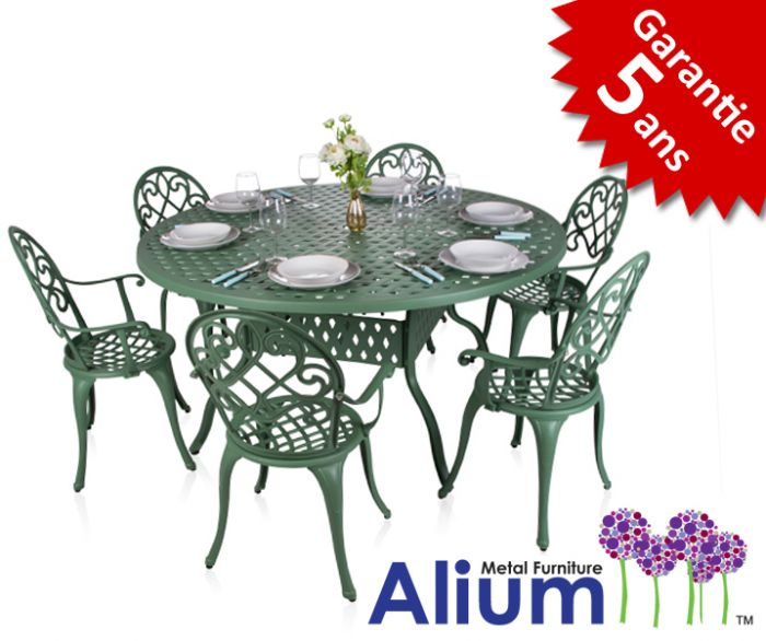 Salon de Jardin Circulaire 6 places Alium Chenonceau en Fonte d\'Aluminium -  Vert Forêt