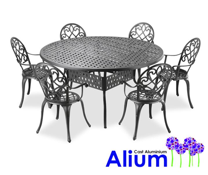 Ensemble De Meubles De Jardin Circulaire 6 Places Alium U0026quot;Chenonceauu0026quot; En Fonte Du0026#39;Aluminium 77999