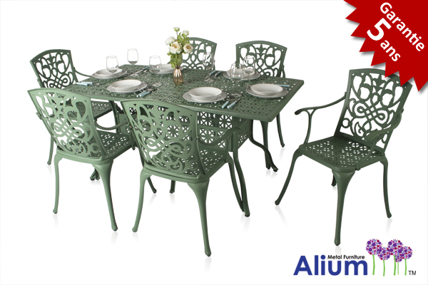 salon de de jardin rectangulaire 6 places alium cleveland en fonte d 39 aluminium vert for t 729 99. Black Bedroom Furniture Sets. Home Design Ideas