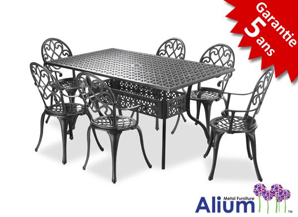 Salon de jardin rectangulaire 6 places alium garfield en fonte d 39 aluminium blanc 909 99 - Salon de jardin fonte aluminium ...