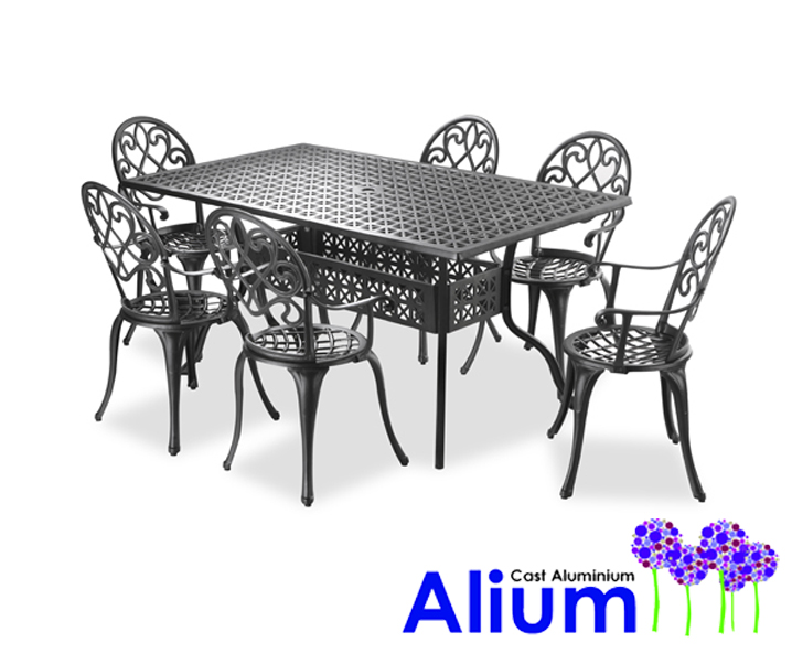salon de jardin rectangulaire 6 places alium gardfield en fonte d 39 aluminium noir 649 99. Black Bedroom Furniture Sets. Home Design Ideas