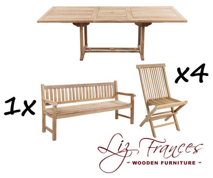 Salon de Jardin 8 Places avec Bancs en Teck A Pembroke - Table Extensible  Rectangulaire