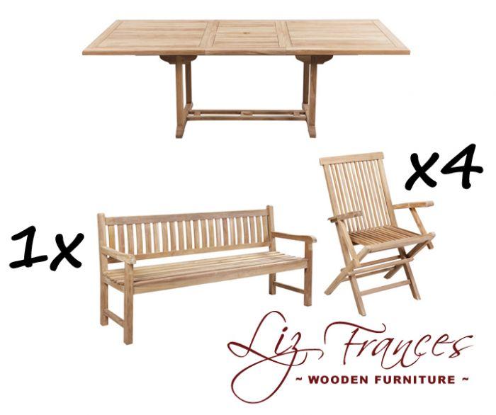 Salon de Jardin 8 Places avec Bancs en Teck A Lakeland - Table Extensible  Rectangulaire
