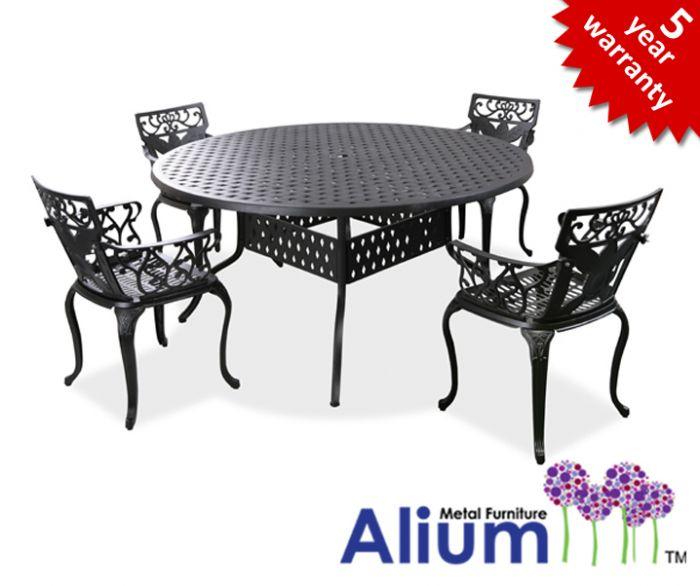 Salon de de jardin 4 places alium lincoln en fonte d 39 aluminium noir 679 99 - Salon de jardin fonte aluminium ...