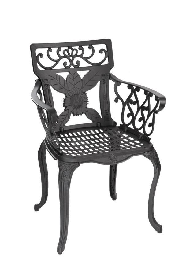salon de jardin 4 places rectangulaire alium lincoln en fonte d 39 aluminium noir 599 99. Black Bedroom Furniture Sets. Home Design Ideas