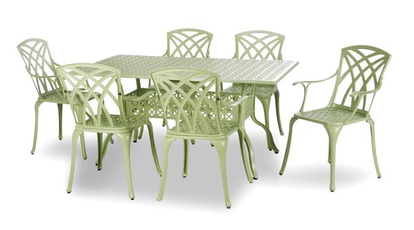 salon de jardin rectangulaire 6 places alium washington en fonte d 39 aluminium vert sauge 749 99. Black Bedroom Furniture Sets. Home Design Ideas