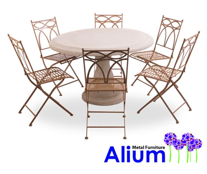 Salon de jardin 6 places alium pesaro avec table ronde en - Table de salon en pierre ...