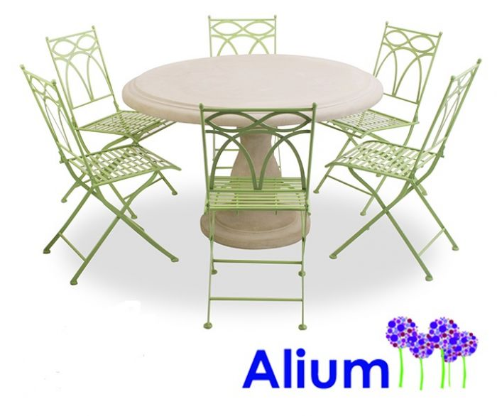 Salon de Jardin 6 Places Alium™ Pesaro avec Table Ronde en Pierre ...