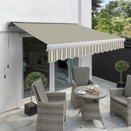 Store Banne Coffre Entier Manuel - Rayures Multi-Rayures - 4,5m x 3m
