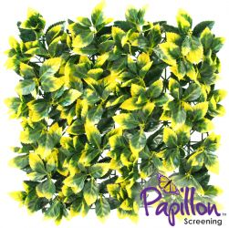 Haie Artificielle Carreau de Feuilles Jaunes 50x50cm - par Papillon ™ Lot de 8 – 2m²