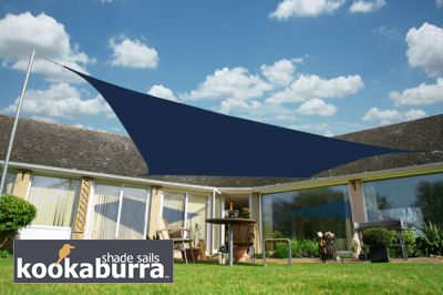 Voile d'Ombrage Bleu Rectangle 4x3m - Imperméable - 160g/m2 - Kookaburra®