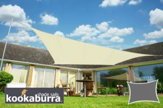 Voile d'Ombrage Ivoire Rectangle 5x4m - Imperméable - 160g/m2 - Kookaburra®
