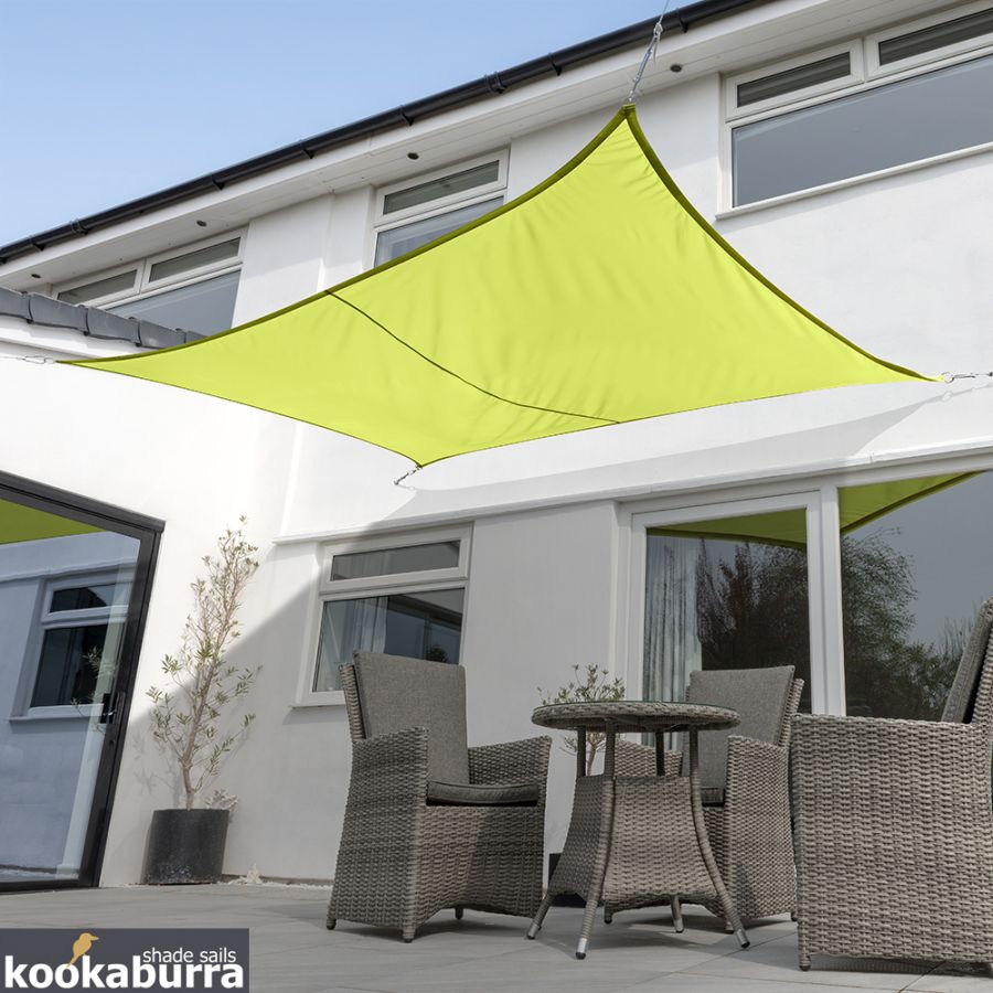 Voile d'Ombrage Vert Citron Rectangle 5x4m - Imperméable - 160g/m2 - Kookaburra®