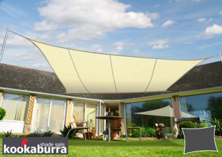 Voile d'Ombrage Ivoire Rectangle 5x4m - Déperlant - 140g/m2 - Kookaburra®