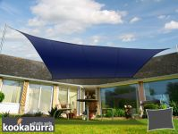 Voile d'Ombrage Bleu Rectangle 4x3m - Déperlant - 140g/m2 - Kookaburra