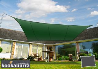 Voile d'Ombrage Vert Rectangle 5x4m - Déperlant - 140g/m2 - Kookaburra®