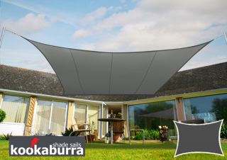 Voile d'Ombrage Charbon Rectangle 4x3m - Déperlant - 140g/m2 - Kookaburra®