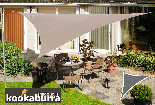 Voile d'Ombrage Taupe Triangle 5m - Imperméable - 160g/m2 - Kookaburra